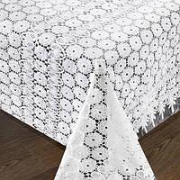 """Клеенка в рулоне Stenson """"LACE"""" размер 1,32х22м, белая ажурная, клеенка на стол, рулон клеенки, кленка для стола"""