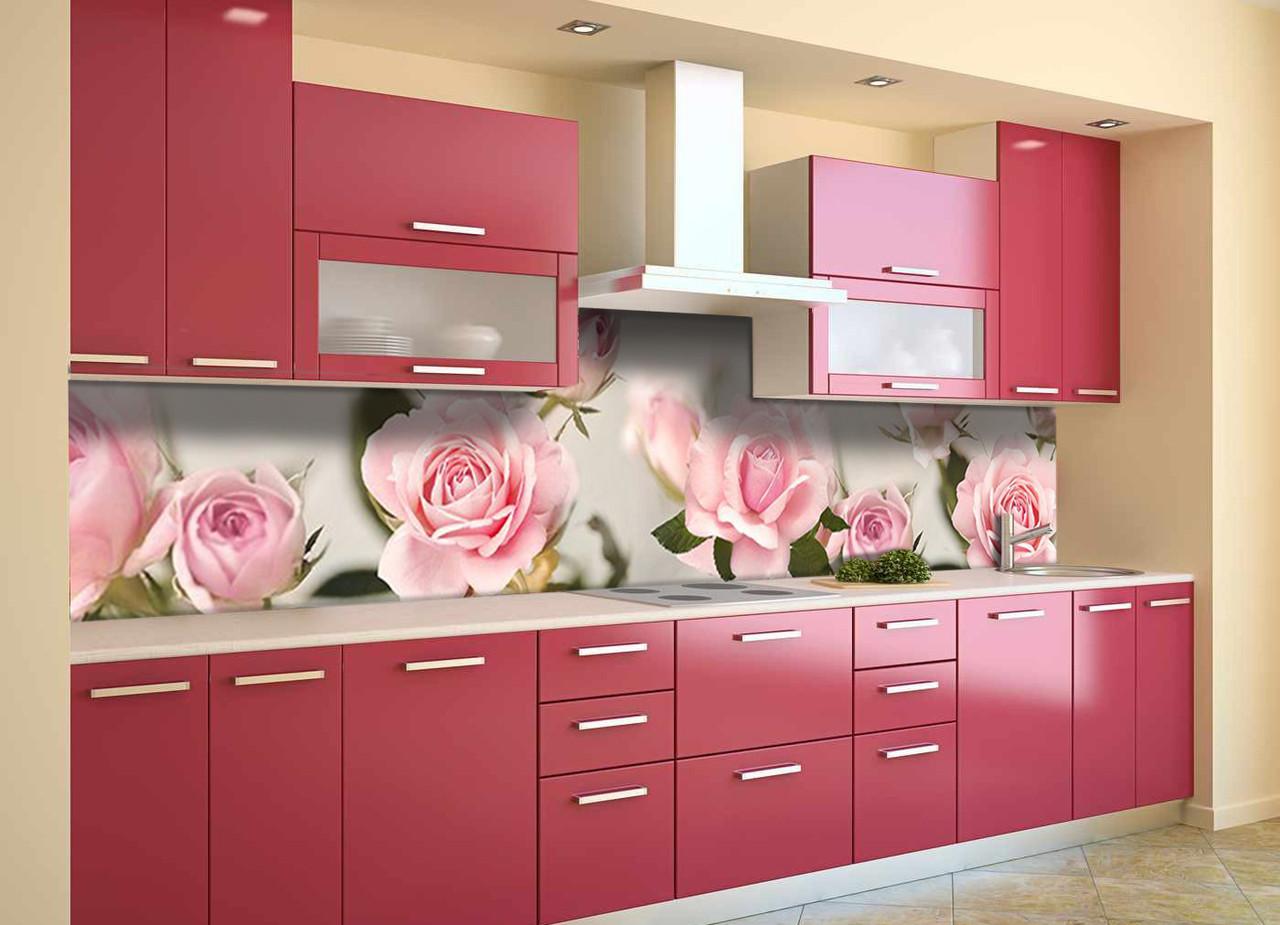 Виниловый кухонный фартук самоклеющийся Бутоны Розовые Розы (скинали для кухни наклейка ПВХ) цветы 600*2500 мм