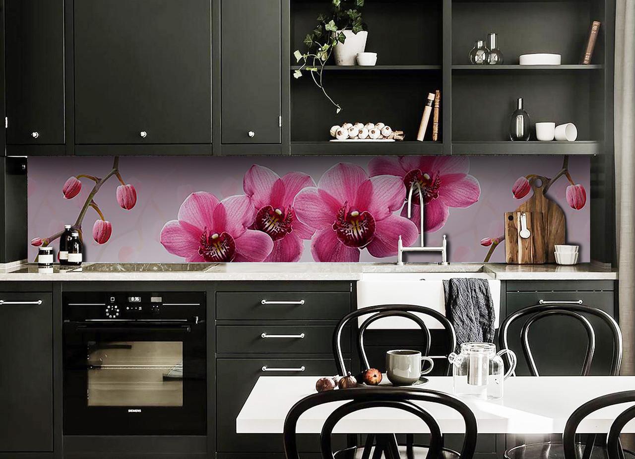 Виниловый кухонный фартук Крупные Розовые Орхидеи (виниловый скинали для кухни наклейка ПВХ) цветы 600*2500 мм