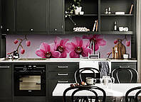 Виниловый кухонный фартук Крупные Розовые Орхидеи (виниловый скинали для кухни наклейка ПВХ) цветы 600*2500 мм, фото 1