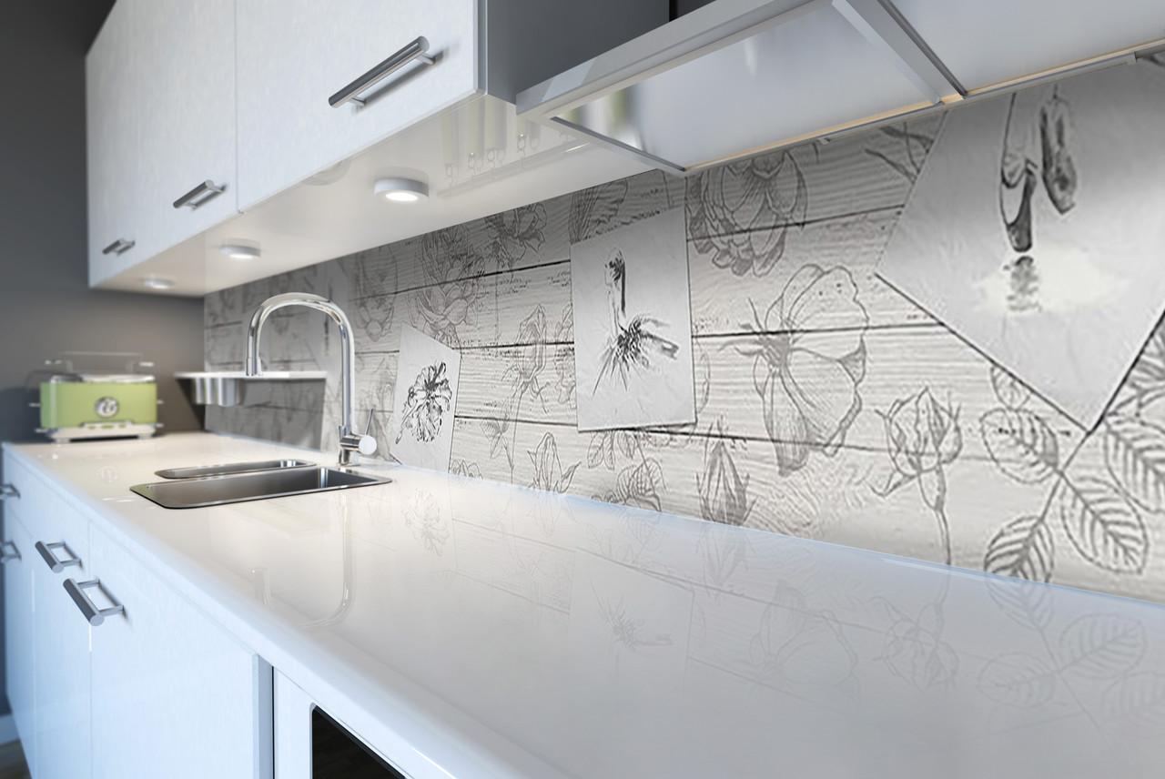 Виниловый кухонный фартук самоклеющийся Рисунки Карандаш Балерина (скинали наклейка ПВХ) под доски серый 600*2500 мм