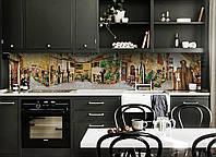 Виниловый кухонный фартук самоклеющийся Винтажный Прованс (скинали наклейка ПВХ) улицы бежевый 600*2500 мм