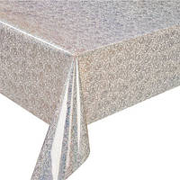 Клеенка ПВХ  Laser MA-2919, прозрачная, с голографическим рисунком, размер 1,37*20 м, клеенка на стол, рулон клеенки, кленка для стола
