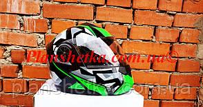 Шолом для мотоцикла F2-159 трансформер + окуляри чорно-зелений XS/S