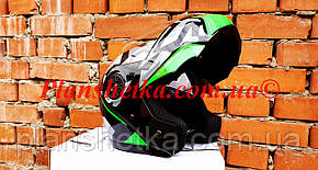Шлем для мотоцикла F2-159 трансформер + очки черно-зеленый XS/S, фото 2