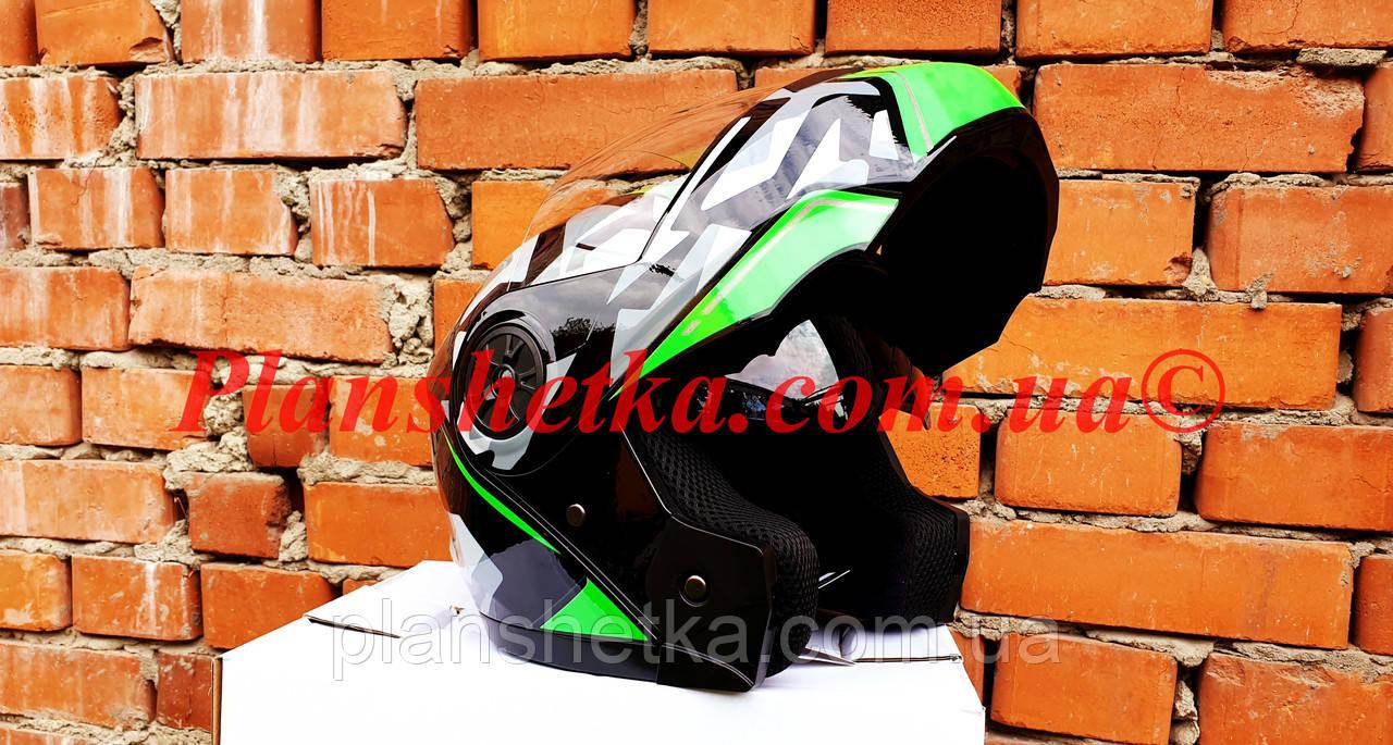 Шолом для мотоцикла F2-159 трансформер + окуляри чорно-зелений XS/S, фото 2