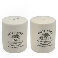 "Набор для специй Stenson ""Глазурь"" в комплекте соль/перец, размер 6,5х6,5х8см, белый, Набор для специй, Спецовники"