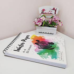 Бумага акварельная 50 листов, альбом на спирали  (54875487)