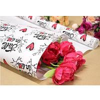 """Бумага упаковочная крафт """"Fall in love на белом"""" размер 70см*10м, Бумага для подарков, Бумага упаковочная, Крафт бумага"""