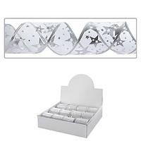Декоративная лента Магічна - Новорічна 8888 белая, 2.7м*6.3cм, 12шт, упаковочная бумага и ленты, лента