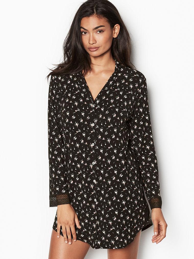 Платье-рубашка для дома Victoria's Secret art672313 (Черный, размер M)