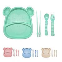 """Посуда детская из пшеничной шелухи """"Бегемот"""" в наборе  (тарелка, вилка, ложка, палочки), рамзер 21,5х20см, разные цвета"""