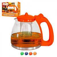 Заварник стеклянный для чая Eurya 1,25л, стекло/пластик, красный, емкость для заваривания чая, чайник для