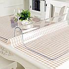 Прозрачная силиконовая скатерть на стол Soft Glass Защита для мебели 1.0х1.3 м Толщина 1.5 мм Мягкое стекло, фото 2