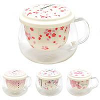 """Чашка с крышкой и ситом Stenson """"Starbucks spring"""" объем 400мл, керамическая, белая, чашки, кружка, посуда,"""