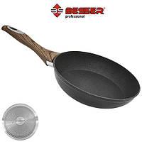 "Сковорода Besser ""Wooden"" індукційне дно, 24см, алюміній, пательня, сковорода алюмініва, сковорідки"