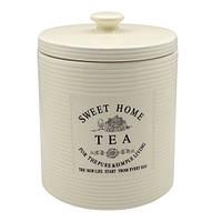 """Банка для чая Stenson """"Прованс"""" объем 850мл, размер 11,5х11,5х15,5см, белая, овальная, фарфор, Банки для"""