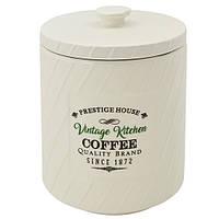 "Фарфоровая банка для кофе Stenson ""Винтаж"" 850мл, размер 11,5х11,5х15,5см, белая, емкость для кофе, банка,"
