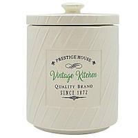 "Фарфоровая банка для сыпучих продуктов Stenson ""Винтаж"" 850мл, размер 11,5х11,5х15,5см, белая, емкость для"