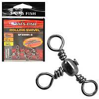 """Вертлюг потрійний для рибальської волосіні """"Black"""" нікель, в упаковці 20 наборів по 5 шт, 31кг, вертлюг,"""