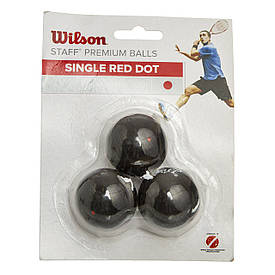 Мячи для сквоша WILSON (3шт) (средний мяч, красная точка) WRT618200