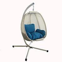 """Крісло - кокон підвісне з подушками Stenson """"Plum tree"""" рамзер 125х95х170см, до 180кг, метал, підвісне крісло зі стійкою, кокон підвісний, крісло"""