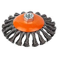 Щетка проволочная конусообразная Ø125мм М14×2мм (стальная витая) GRAD (9040125)