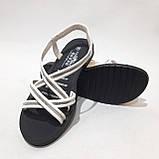36,37,38,39 р. Жіночі босоніжки, сандалі літні білі з сріблом, фото 2