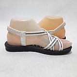 36,37,38,39 р. Жіночі босоніжки, сандалі літні білі з сріблом, фото 6