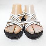 36,37,38,39 р. Жіночі босоніжки, сандалі літні білі з сріблом, фото 4