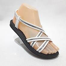 36,37,38,39 р. Жіночі босоніжки, сандалі літні білі з сріблом