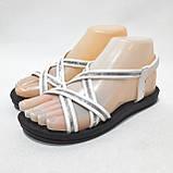 36,37,38,39 р. Жіночі босоніжки, сандалі літні білі з сріблом, фото 3