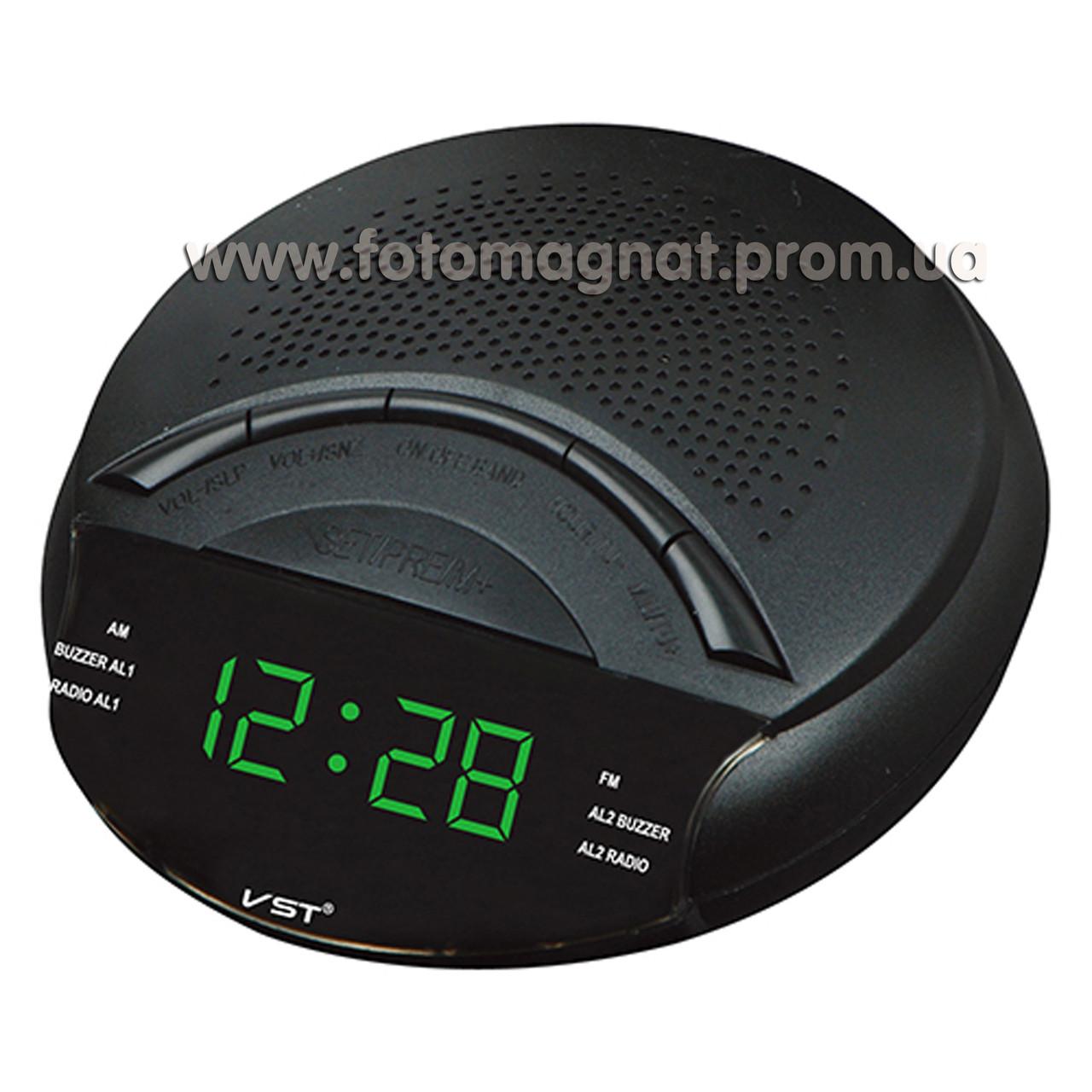 Часы сетевые VST 903-4 с  FM радио и Будильником, Салатовые