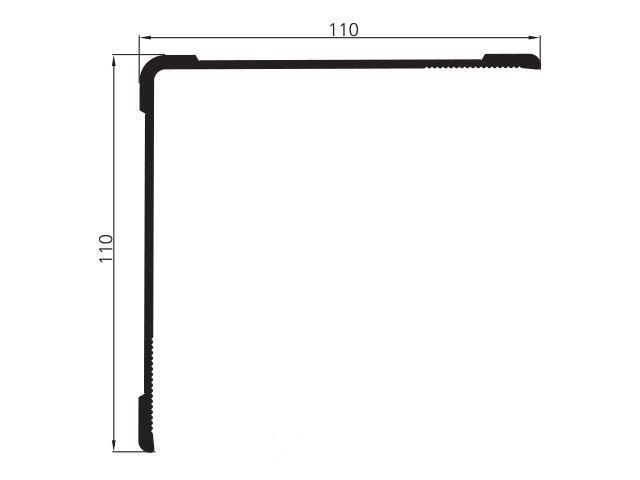 Профіль окантовочний алюміній 110мм