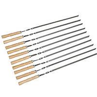 Набір шампурів з дерев'яною ручкою 10 шт Плоский 600х10х3мм, фото 1