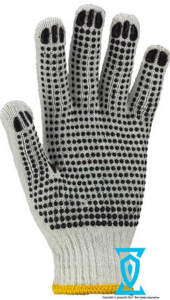 Перчатки рабочие х/б белая с пвх покрытием (Польша), фото 2