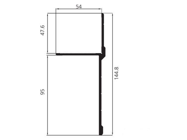 Профіль окантовочний алюміній 144,8 мм