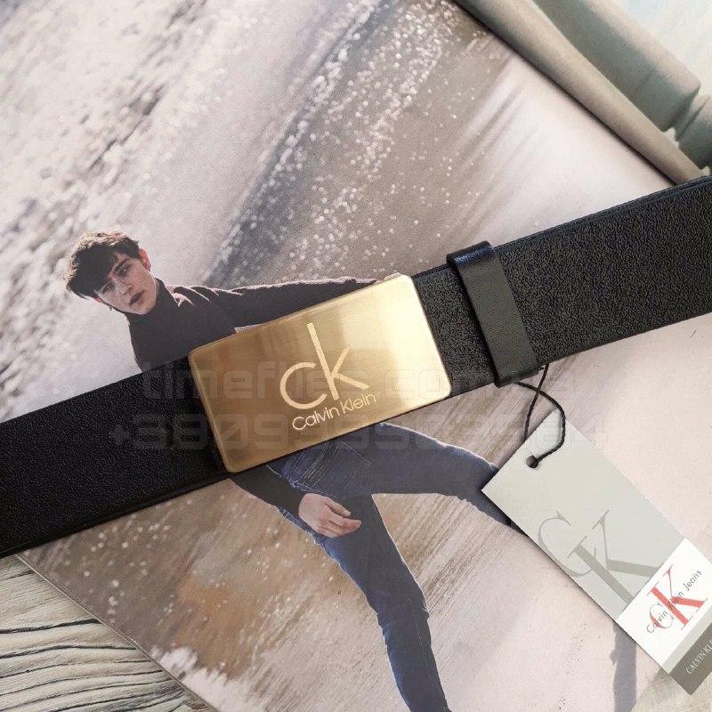 Мужской кожаный ремень Calvin Klein с пряжкой автоматом Черный AAA Copy