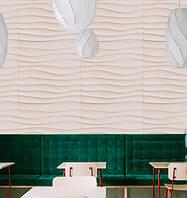 3d панели ПВХ под покраску волны (декоротивные обои, панели с обьемным рисунком) 50 на 50 см, 4д квадраты