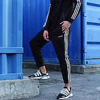 Спортивные штаны Adidas мужские укороченные осенние | весенние черные | ЛЮКС качества