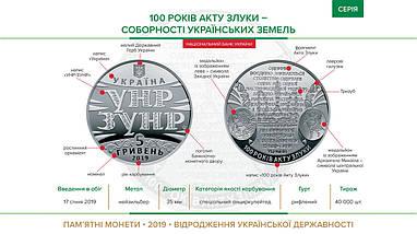 100 років Акту Злуки - соборності українських земель монета 5 гривень, фото 3