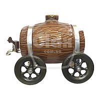 Керамическая бочка на телеге с краником (3 литра)