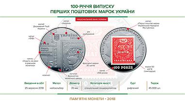 100-річчя випуску перших поштових марок України монета 5 гривень, фото 3