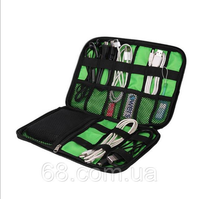 Дорожный органайзер для зарядок, проводов и кабелей USB черный (ПромОплата)