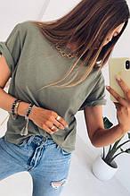 Женская футболка, турецкий хлопок, р-р универсальный 42-46 (оливковый)