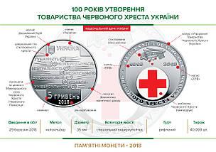 100 років утворення Товариства Червоного Хреста України монета 5 гривень, фото 3