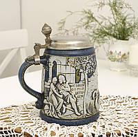 Немецкий пивной бокал, керамическая кружка с оловянной крышкой, керамика, олово, Германия, фото 1