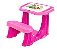Парта учебная школьная пластиковая для девочек Pilsan от 3 до 10 лет розовая откидная крышка органайзер Турция