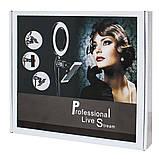 Кольцевая лампа Primo LiveStream селфи-кольцо 16 см на подставке с 2-мя держателями смартфона, фото 2