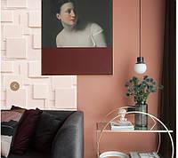 3d панели ПВХ под покраску (декоротивные обои, панели с обьемным рисунком) 50 на 50 см, 4д квадраты